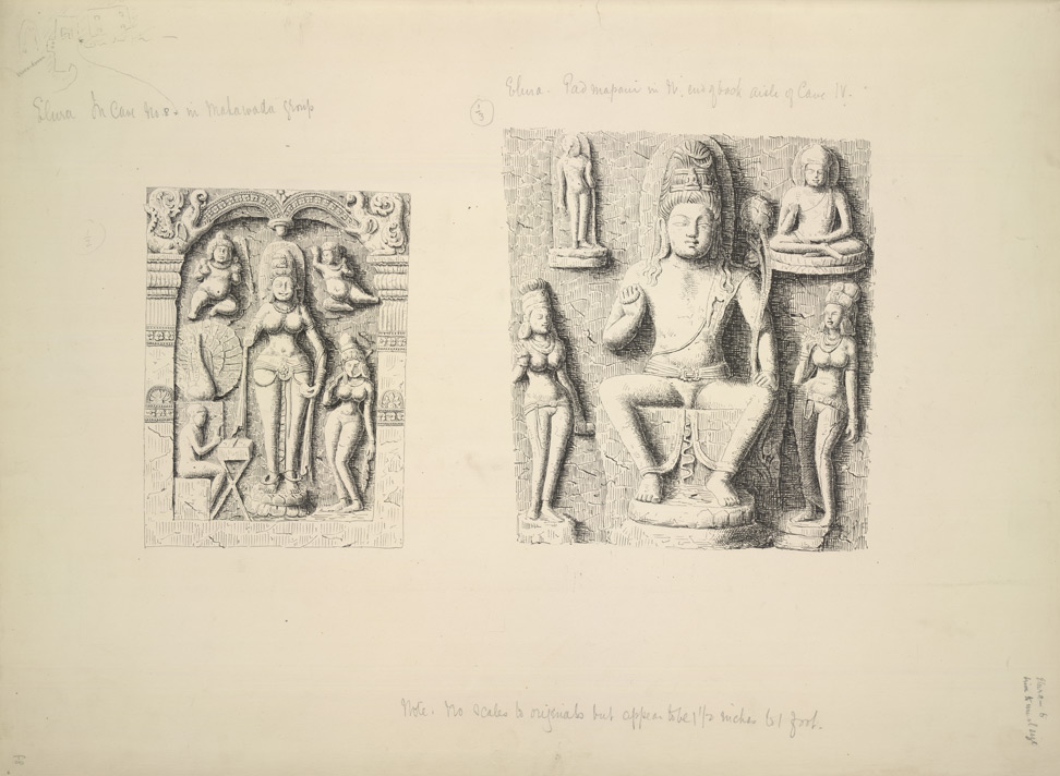Ellora: Sarasvati from Cave VI (left) and Padmapani from cave IV (right)